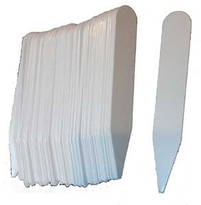 White plastic plant labels