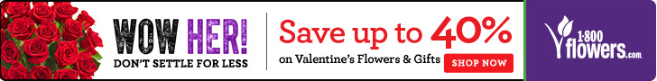 Save up to 40% on Valentine's Flowers & Gifts at 1800flowers.com. (Offer Ends 02/12/14)