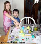 Kat and Brady making Easter eggs