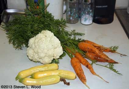 Cauliflower, carrots, and yellow squash