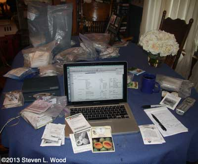 Seed Inventory on Dining Room Table