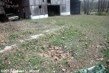 Hole by barn
