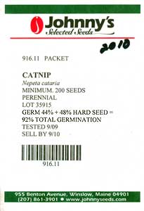 JSS seed packet noting hard seed
