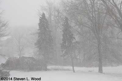 Snowing hard