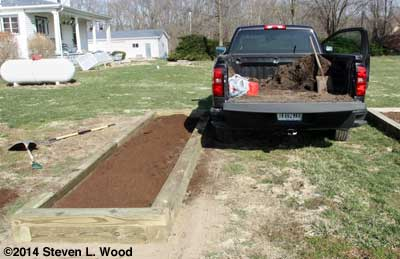 Layering peat moss and compost