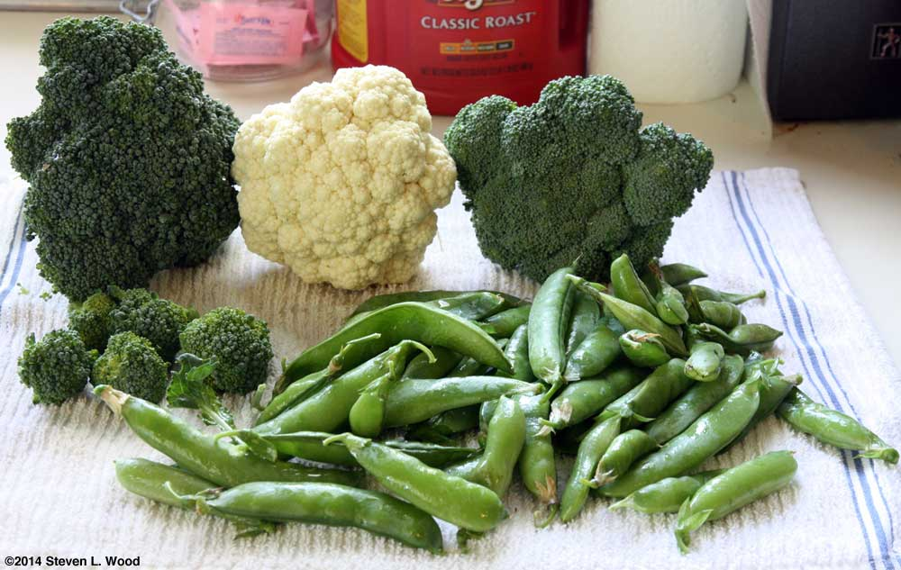 Broccoli, cauliflower, and peas
