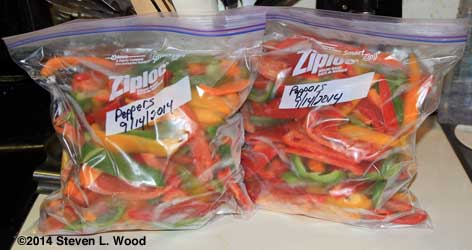 Frozen peppers bagged