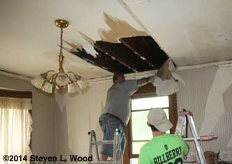 Old ceiling coming down