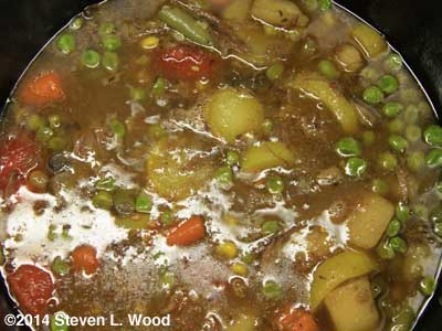 Beef stew simmering on stove