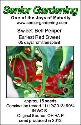 Earliest Red Sweet bell pepper envelope