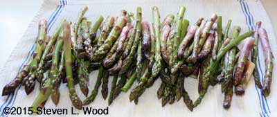 Washed and trimmed asparagus