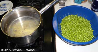 Getting ready to blanch peas