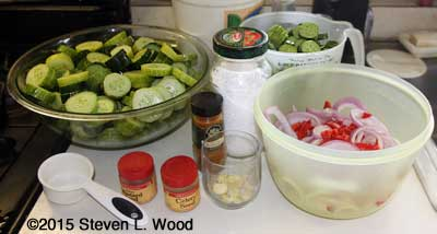 Cucumbers sliced, materials ready