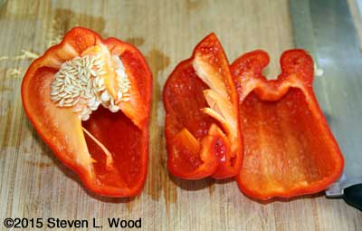 Pepper cut to reveal seeds