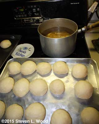 Rolls rising and chicken broth heating