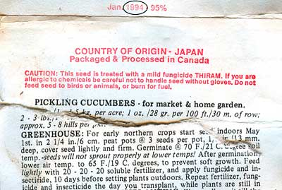 Date on JLP cucumber packet