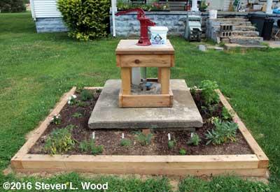 Shallow well pump and herb garden