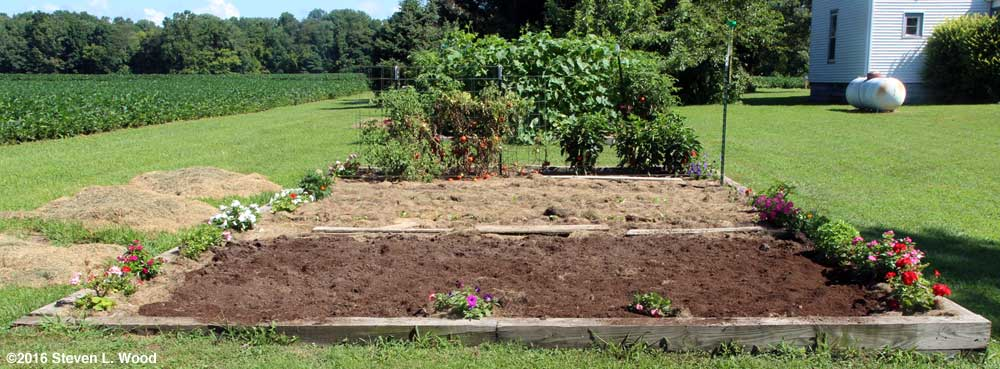 Part of raised bed tilled