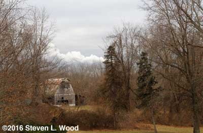 Barn and smoke from powerplant