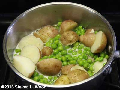 New potatoes and peas