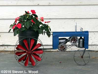 Tractor planter with impatiens