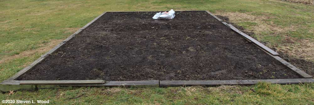Mulch removed from main raised bed