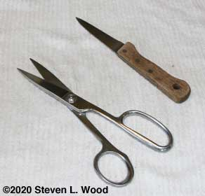 Scissors and knife used