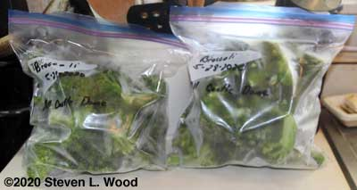 Bagged frozen broccoli florets