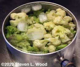 Quick cooling blanched cauliflower