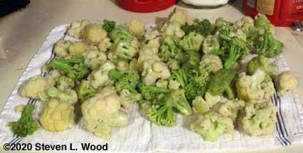Drying cauliflower