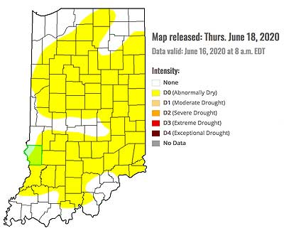 June 18 Drought Monitor for Indiana
