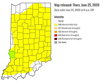 Drought Monitor for Indiana - June 25, 2020