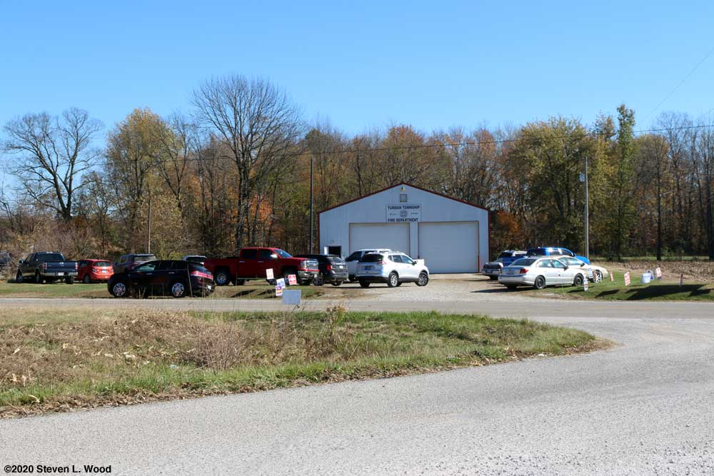 Lots of cars at the Turman Township voting site
