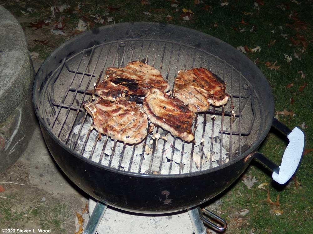 Grilling pork chops in the dark