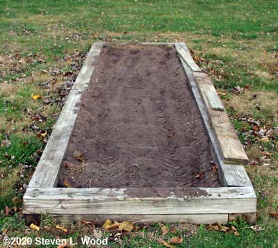 Narrow raised bed tilled