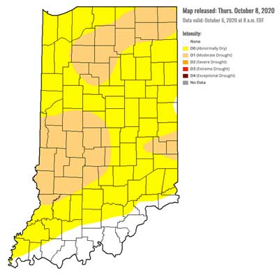 Drought Monitor for Indiana - October 8, 2020