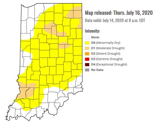 Drought Monitoer for Indiana - July 16, 2020