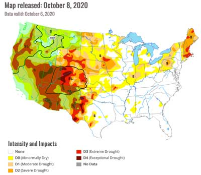 US Drought Monitor - October 8, 2020