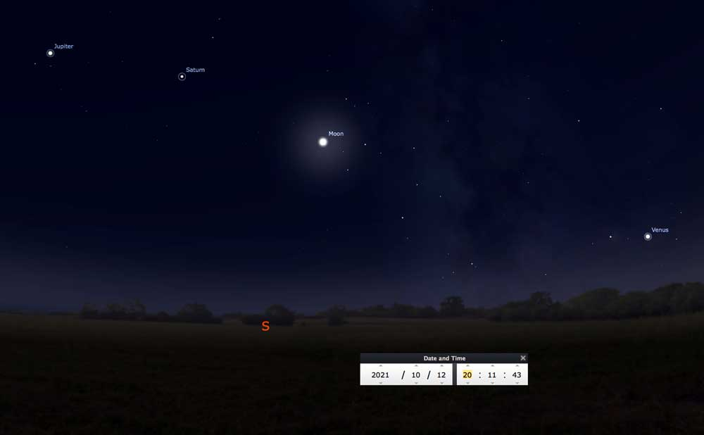 Stellarium map of night sky 10-12-2021
