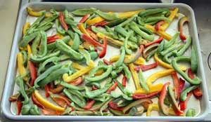 Frozen Peppers on Cookie Sheet