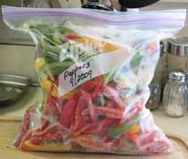 Peppers in freezer bag