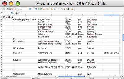 Seed Inventory Spreadsheet