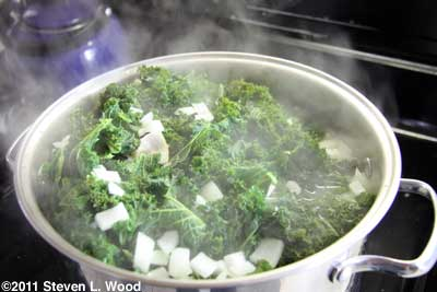 Kale boiling on stove