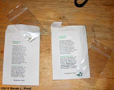 Plastic seed baggies