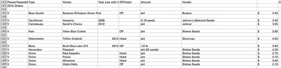 Seed orders in Numbers
