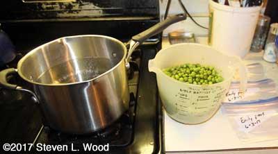 Blanching peas