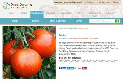 2017 Moira listing on Seed Savers Exchange
