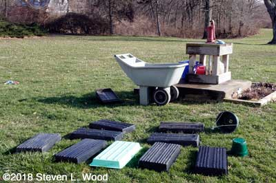 Trays drying on the ground on a sunny March day