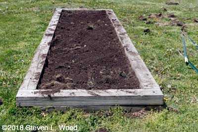 Narrow bed tilled and raked