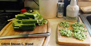 Deseeding and chopping cucumbers